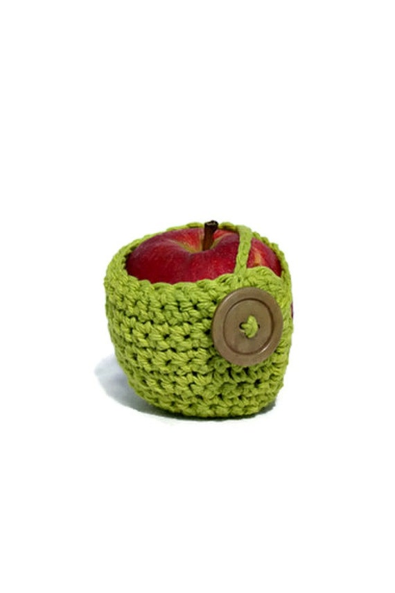 Crocheted Apple Cozy in Bright Green