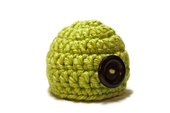 Baby Button Hat Crochet Green Newborn