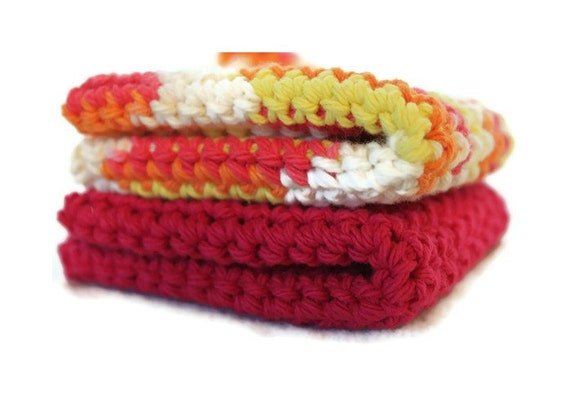 Crochet Dishcloths, Cotton Washcloths for Kitchen or Bathroom, Set of 2 Ready To Ship