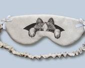 Hiding Cat Original Art Print, 100% Hand Made Sleeping Eye Mask.