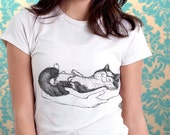Happy Cat in Her Arms Original Art Print Women T-Shirt - Sizes XS, S, M, L, XL, xxl