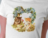 Kittens and Blue Floral Heart Wreath Vintage Antique Victorian Retro Art Print T-Shirt - Girl and Women White Tee