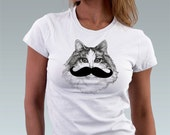 Mustache Moustache Kitten Cat Kitty Cat Shirt Pet Animal Art Print T-Shirt Cat Lover Gift