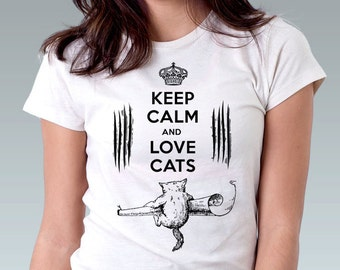 Keep Calm and Love Cats Cat Shirt Kitten Kitty Pet Animal Art Print Ladies T-Shirt  Cat Lover Cute Gift - White or Pink - XS, S, M, L, XL
