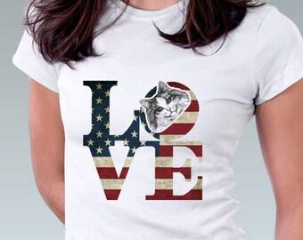 LOVE Philadelphia Vintage American Flag Cat T Shirt  Kitten Cat Kitty Art Print Women T-Shirt Cat Lover Gift Robert Indiana