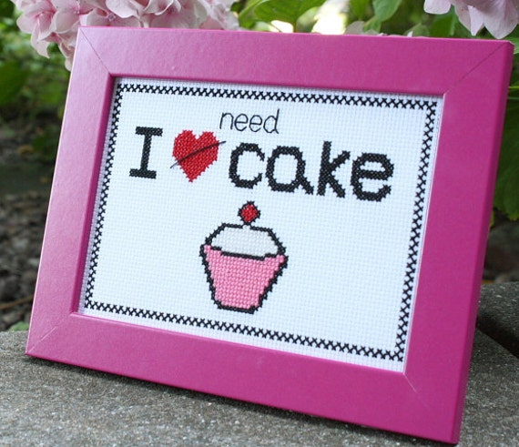I Need Cake cross-stitch kit