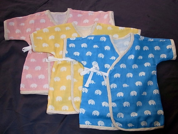 Baby Kimono with Japanese fabric / elephant print, Newborn to 24 month