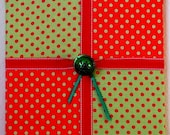 "Christmas Wall Art, Polka Dot Package With Jingle Bell/Red/Green, 12""x12"""