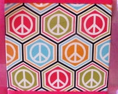 "20% off Sale Peace Sign Wall Art, Tween Art, Kids Room Decor, Hippie Pink Blue Green, 12""x12"""