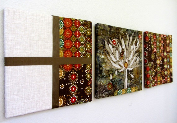 Items similar to nature fabric wall art set of 3 hand cut for Fabric wall art