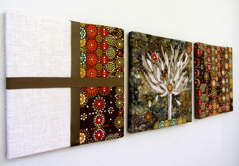 Wall Decor Fabrics : Items similar to nature fabric wall art set of hand cut