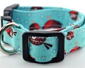 Aqua Birds Dog Collar