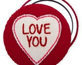Love You Embroidered Applique Fabric Compact Mirror, perfect for Valentines day and anniversary gifts