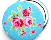 Compact Mirror/ Pocket Mirror/ Handbag Mirror, Turquoise Lecien Flower Sugar Rose Fabric, for wedding favours, party favours