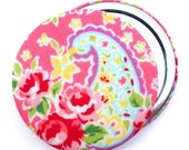 Compact Mirror/ Pocket Mirror/ Handbag Mirror, Pink Paisley Fabric, compact mirrors perfect for wedding favours & party bag favours