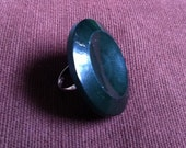 Handmade ring, Dark green circular button with metal ring, one of a kind, perfect present