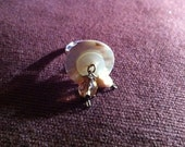 Handmade ring, mother of pearl button with added bead detail with metal ring, one of a kind, perfect present
