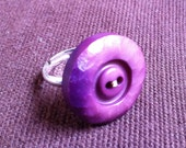 Handmade ring, Purple shade textured circular button with Gold thread, one of a kind, perfect present