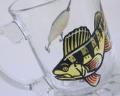 YELLOW PERCH FISH Hand Painted Footed Mug- For the Fisherman