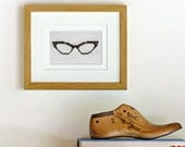 Cross stitch kit - cateye glasses beginner quick easy vintage retro hipster fun decor black & white