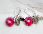 Hot Pink Drop Earrings. Swarovski Briolette Earrings.