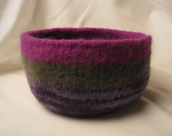 Striped Purple and Green Felted Bowl