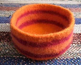 Orange and Purple Striped Felted Bowl