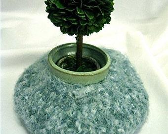 Blue/Cream Felted Alpaca Bowl/Vase