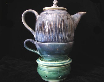 Hand Thrown Tea Set for One, Green Purple Stoneware Tea Pot, Tea Cup, and Tea Pot Warmer, Made to Order