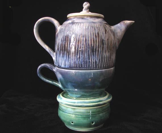 Hand Thrown Tea Set for One, Green Purple Stoneware Tea Pot, Tea Cup, and Tea Pot Warmer, Made to Order