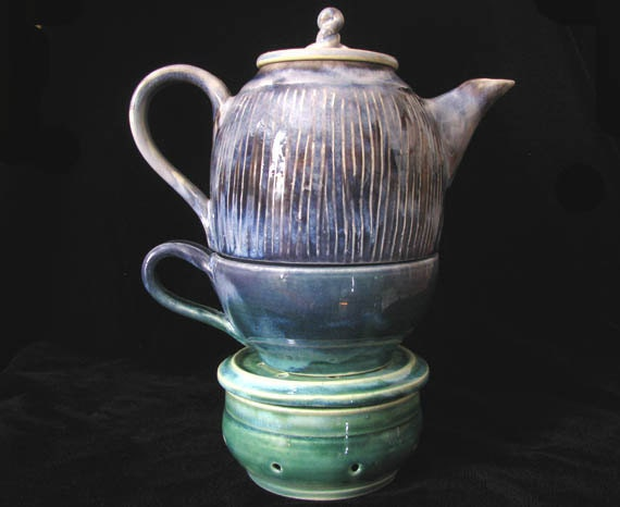Hand thrown tea set for one green purple stoneware tea pot Green tea pot set