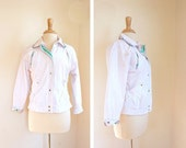 SALE 80s pastel WHITE JACKET lined button up