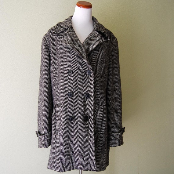 Vintage Wool Peacoat Double Breasted Tweed Black and White Size XL Extra Large