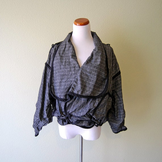 Vintage 80s Artist Jacket Black and Grey Convertible Multi-Style by Miko Francisco