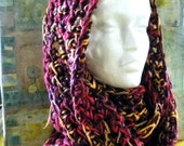 Crochet Cowl Infinity Scarf 72 x 7 inch soft, cozy, double yarn, soft yarn, maroon pink yellow tweed Request other colors