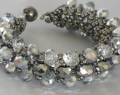 Ice Cold clear and silver crystal beadwoven bracelet with dark silver seed beads and a magnetic clasp