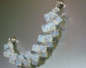 Sri Lanka Moonstone cube glass crystal beadwoven bracelet with large magnetic clasp