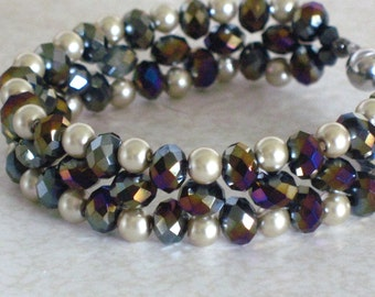 SALE-- 30% off--- Black AB crystal and vanilla cream pearl beadwoven bracelet with an 8mm silver tone magnetic clasp