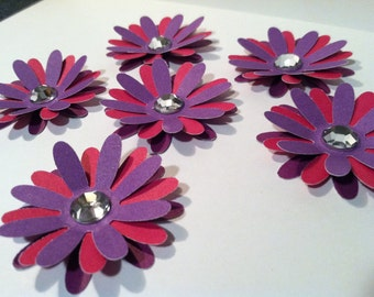 6 triple layered flower embellishments  (shades of purple and pink)