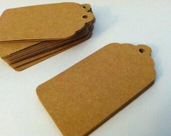 Set of 100 - 2 x 1  inch -  Kraft Brown tags-price tags-gift tags-machine cut blank/printed cardstock, die cut tags