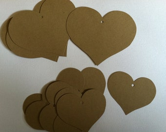 15 Kraft heart shaped tags-gift tags-wish tags