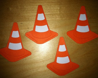 Traffic cones, 6 safety cones, 6 embellishments, traffic cone die cuts, safety cone die cuts, (6 total)