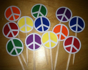 12 Peace sign cupcake toppers-appetizer picks
