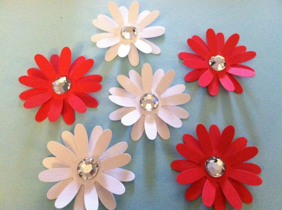 6 paper flower embellishments  (solid white and red)