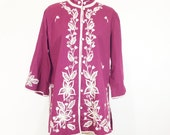 Vintage 70s Burgundy Embroidered Tunic//RESERVED for Sabba Sabba...Please do not purchase....