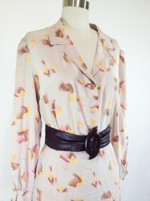 Vintage Tan Print Pleated 70's Dress