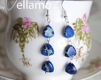 Earrings with beautiful blue imperial jasper gemstones, triangle shaped and sterling silver, modern