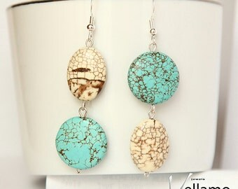 Large stone asymmetrical earrings with howlite turquoise gemstones and sterling silver, modern asymmetrical
