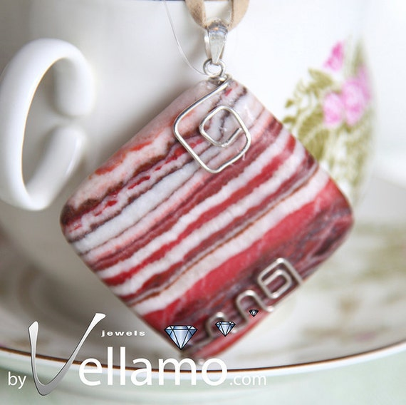 Beautiful large jasper square pendant with sterling silver wire shapes, very modern, 40mm, OOAK