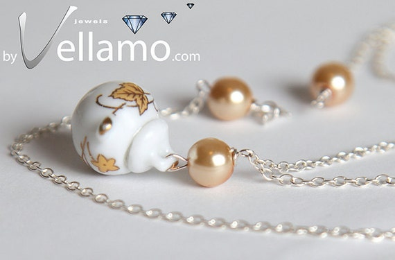 Delicate sterling silver teapot / sugarpot pendant, white and gold with Swarovski pearls, porcelain, fashion pendant and necklace